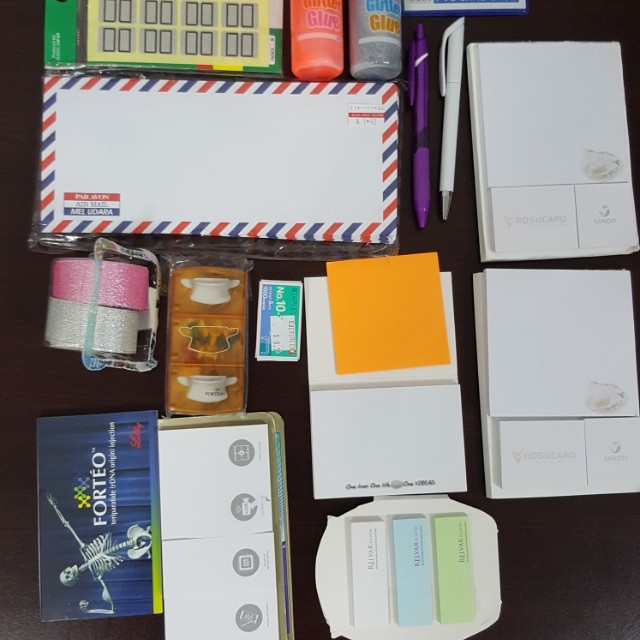 Glitter glue, post-its, envelipes, etc