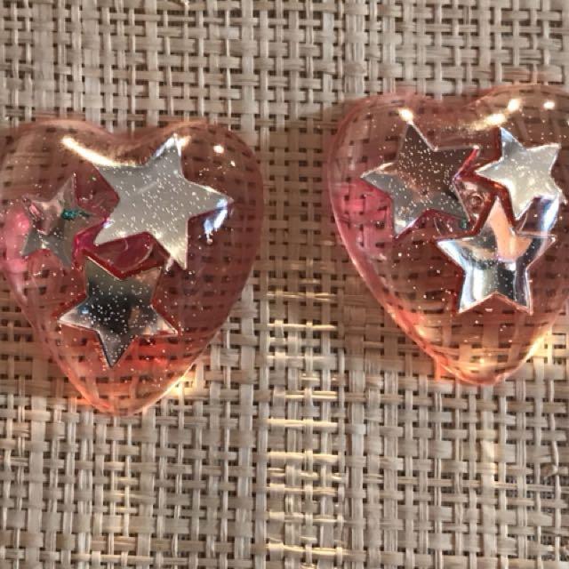 Handmade clear resin heart shape studs with encapsulated stars