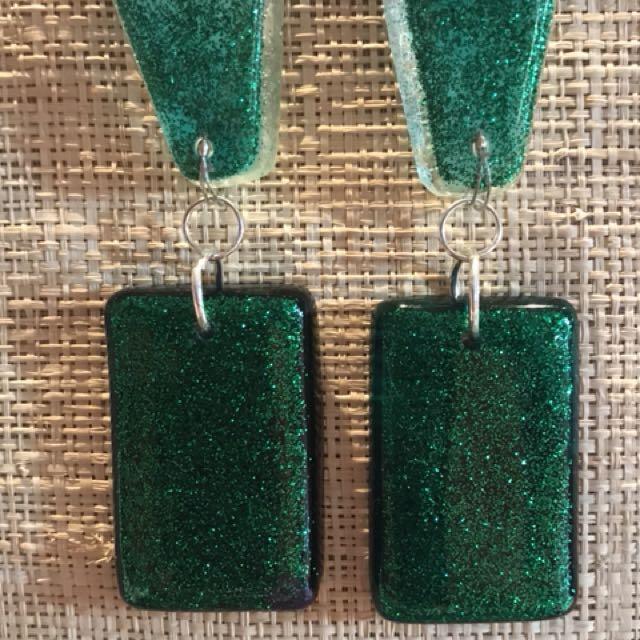 Handmade emerald green glitter resin drop earrings
