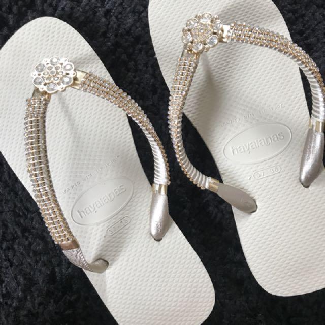 3f7ce85a5 Havaianas Diamante white flip flops thongs sandals