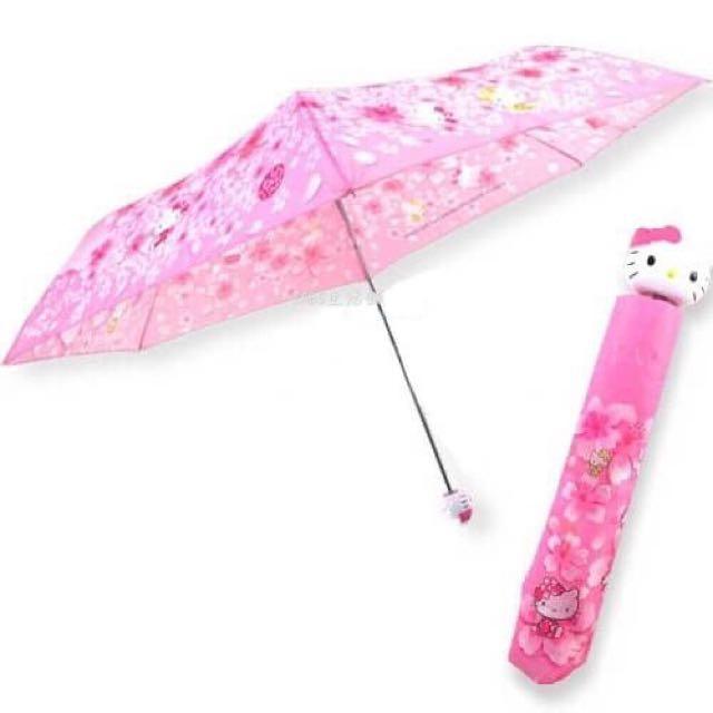 三麗鷗HELLO KITTY凱蒂貓折傘櫻花滿版 晴雨傘 UV傘 雨傘 遮陽傘