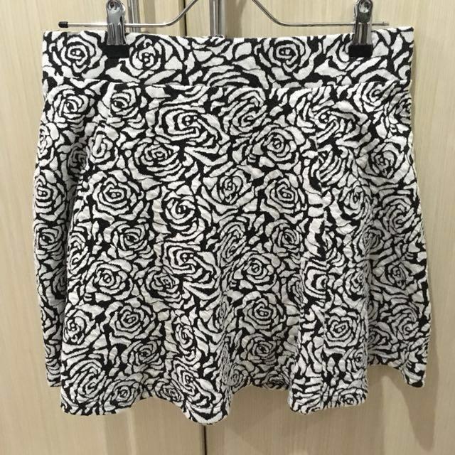 H&M Divided Skater Skirt with Rose Pattern