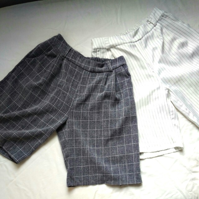 Incl Pos Set of 2 Culottes - Grid and White Stripes