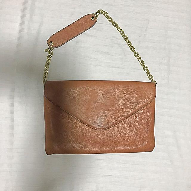 JCrew Leather Tan Clutch/Shoulder Bag