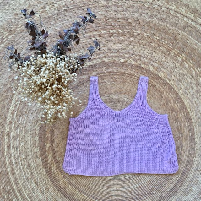 Lilac Cropped Knit Singlet