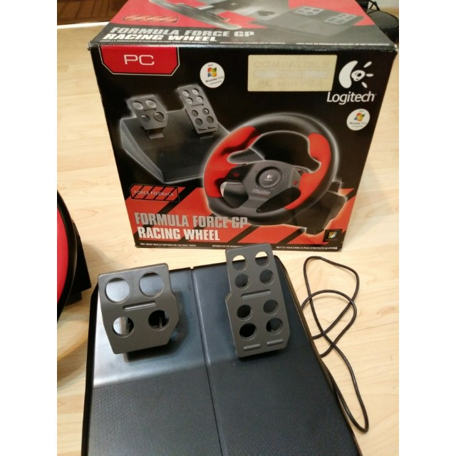 LOGITECH RACING WHEEL + PEDALS + 2 FREE PS2 RACING GAMES FOR