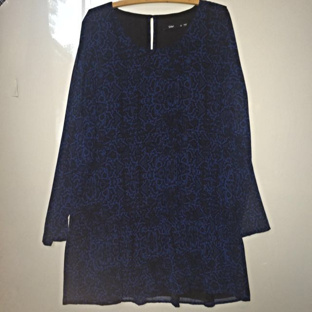 Long Sleeve Dark Blue Dress