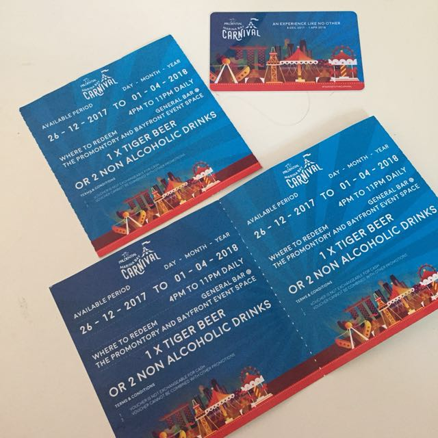 Marina Bay Carnival Free Drinks Voucher Admission Ticket