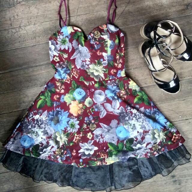Maroon Floral Dress / Summer Dress 🌼