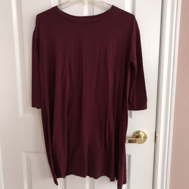 Maroon knee length top size m