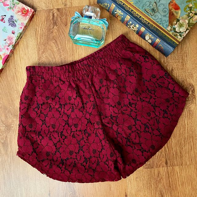 Maroon Lace Short