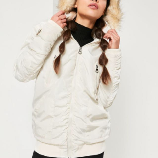 Miss Guided white ruched parka jacket