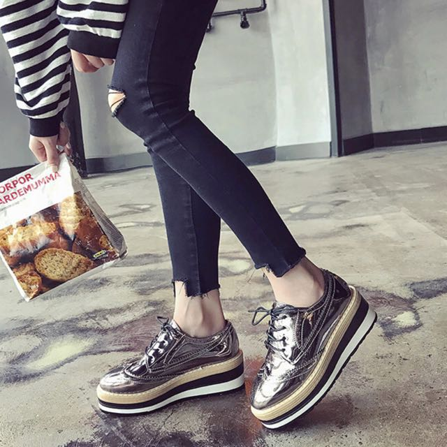 1ba39f7adee Mono-coloured Shoelace Tie Designed Korean Style Platform Loafers ...