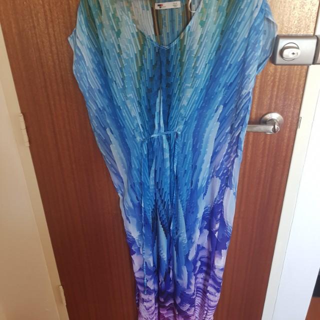 Multi-coloured sheer maxi dress