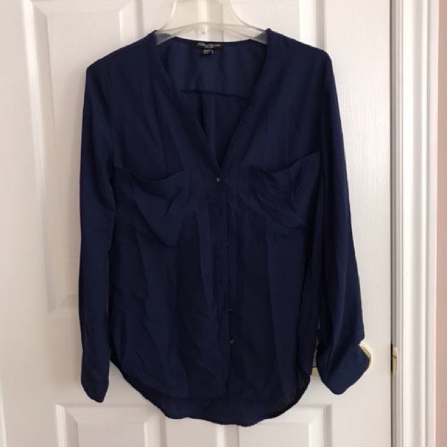 Navy blue button down top size m