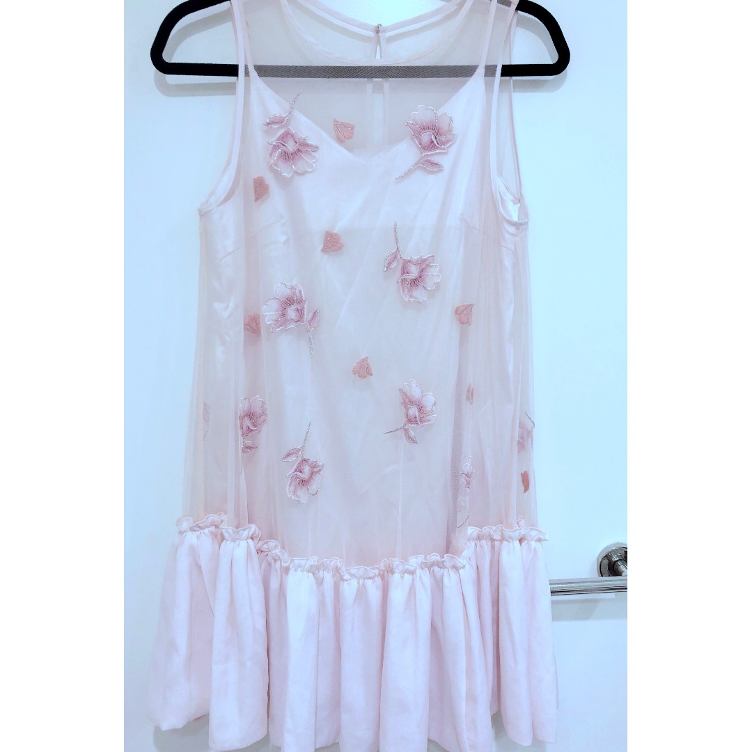 NWT Snidel Floral Pink Mesh Dress, Free Size (Sz 6-10)