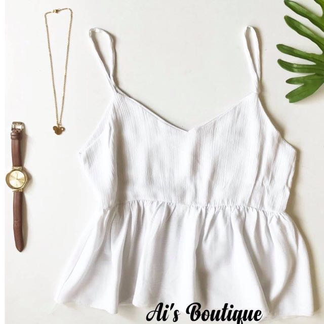 Off White Sleeveless Peplum Top