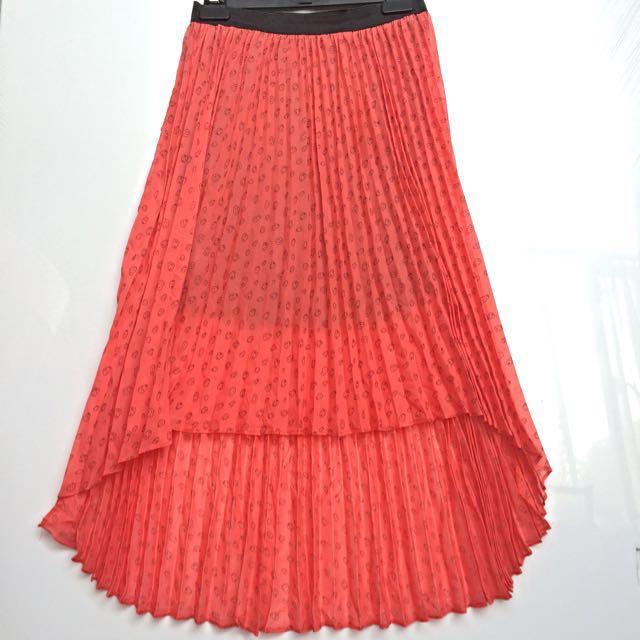 Orange Skull Print Hi-low Skirt