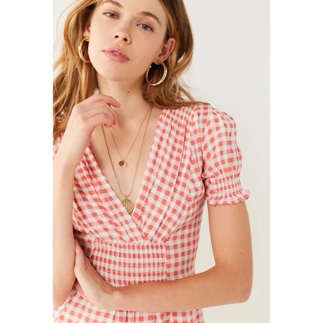 OshareGirl 01 美單格紋荷葉滾邊袖收腰連身裙洋裝