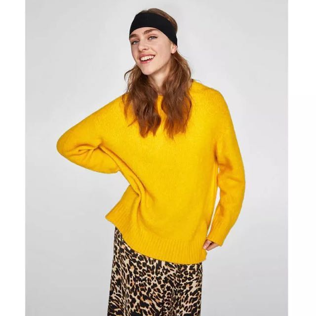 OshareGirl 01 歐美女士純色圓領寬鬆長版針織毛衣上衣