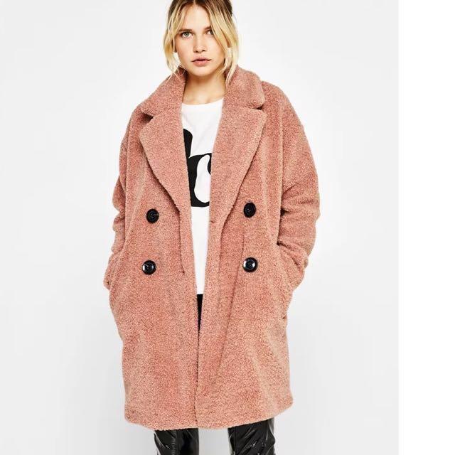 OshareGirl 01 歐美純色雙排釦羊絨毛造型大衣長版外套