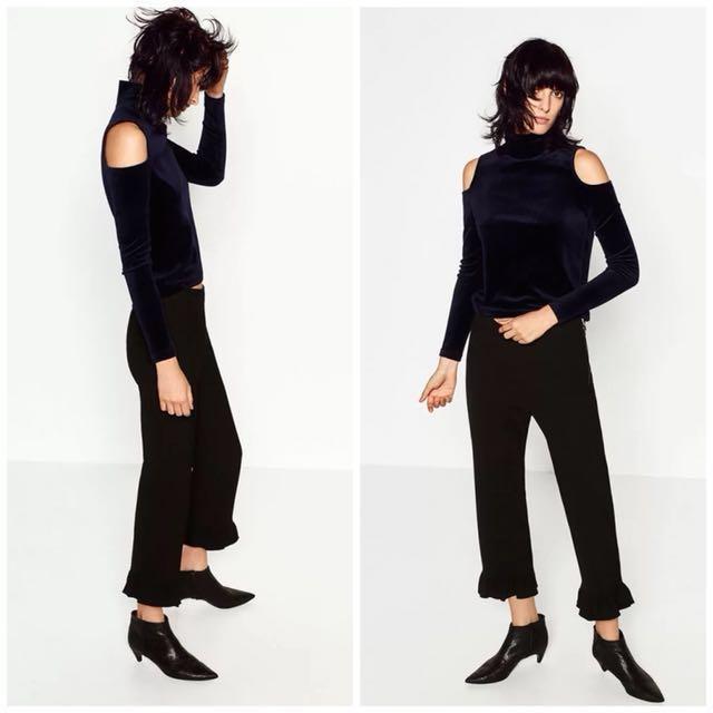 OshareGirl 01 特價)西班牙單純色高領天鵝絨露肩長袖T恤上衣
