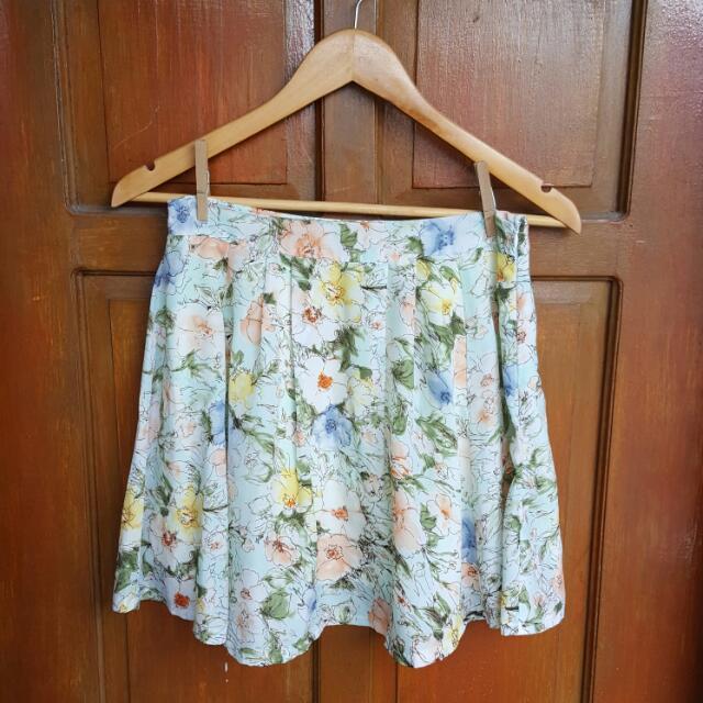Pastel Green Floral Skirt