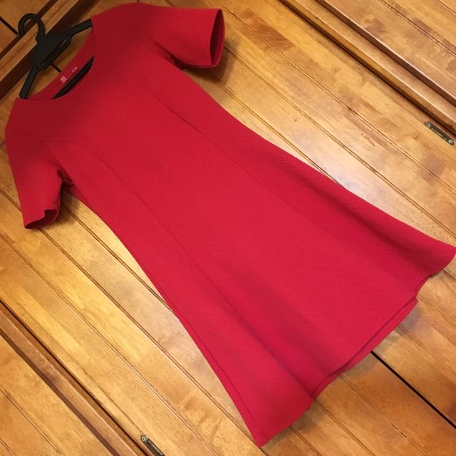 PDI Red Sleeve Skater Dress