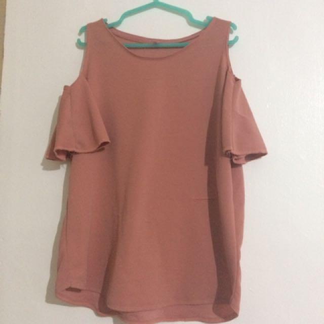 peach color cold shoulder