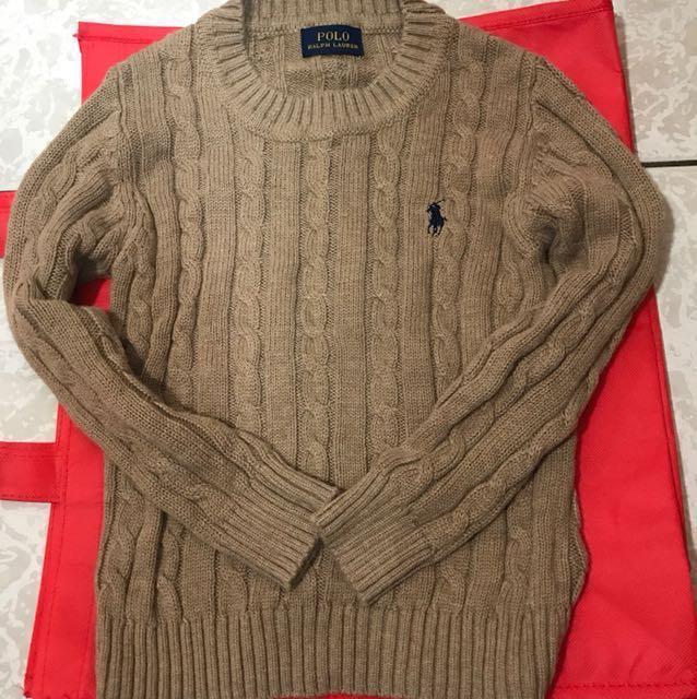 Polo/Ralph Lauren 兒童款-深卡其色克什米爾毛衣(全新