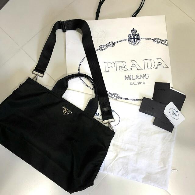 ... 50% off prada black nylon tessuto shopping tote bag with saffiano  details dbc81 8c677 a1b6a159605b0