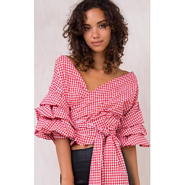 Princess Polly Lioness Cha Cha Gingham Off Shoulder Top Size Xs