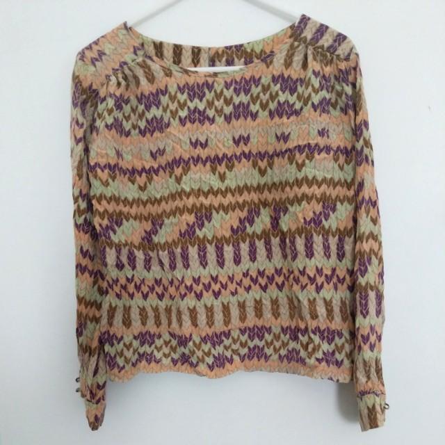 Printed long sleeve blouse