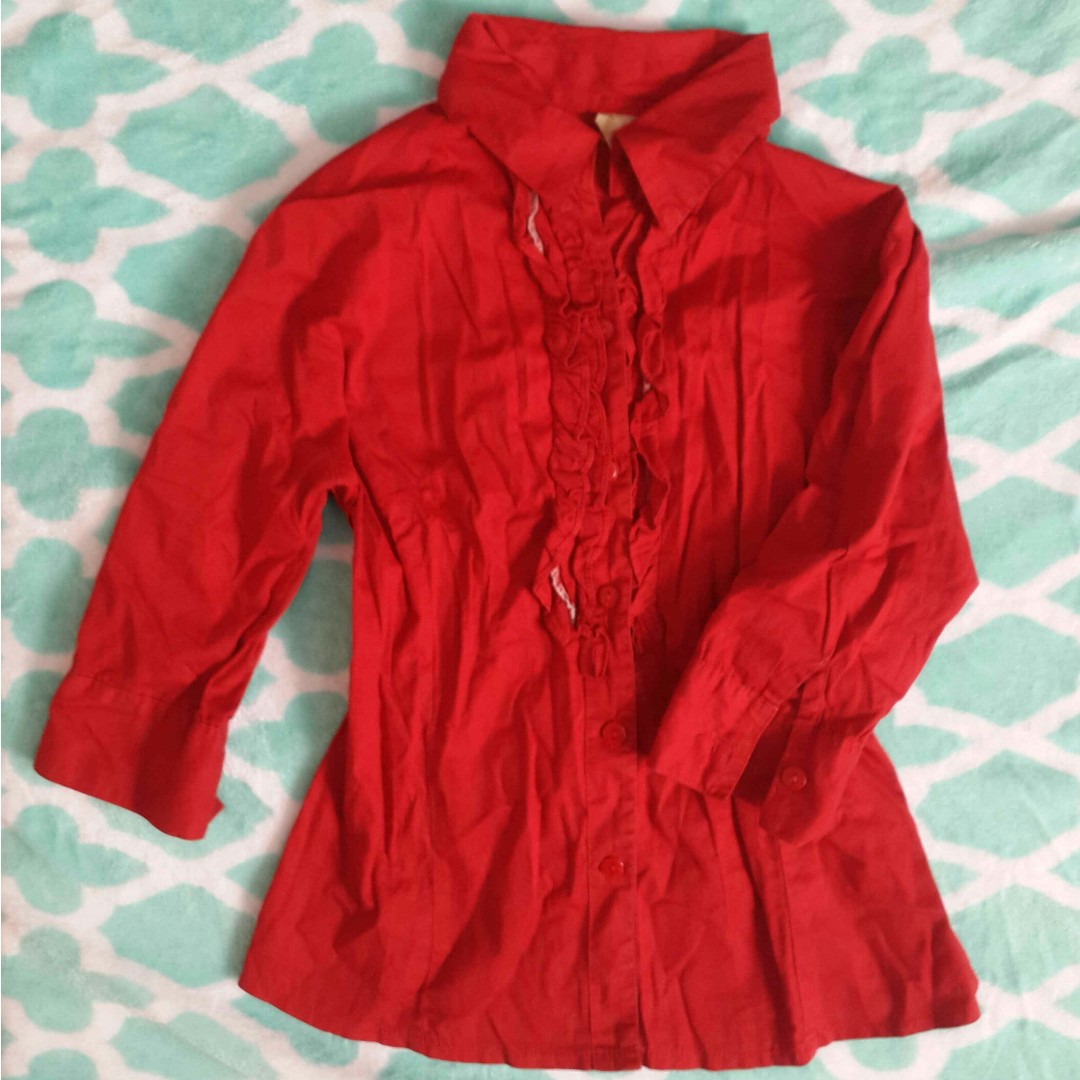 Red Formal Blouse