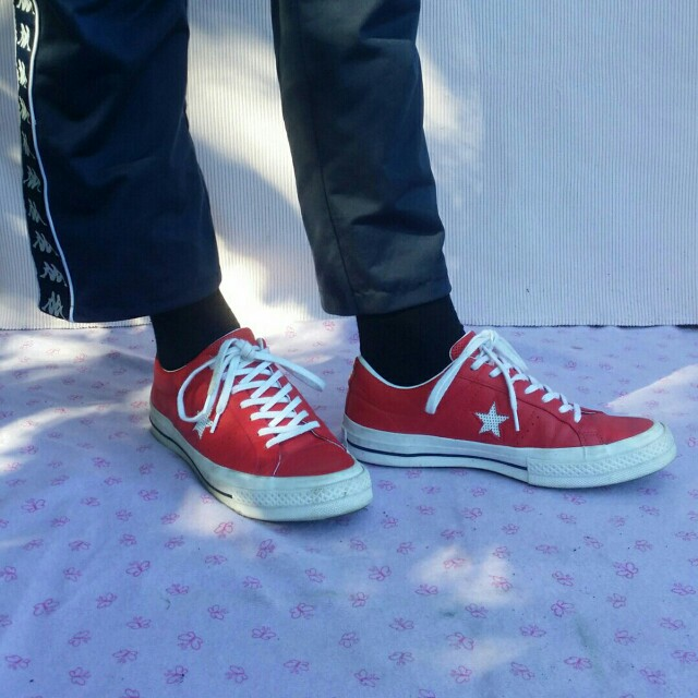 Red Leather Converse One Star