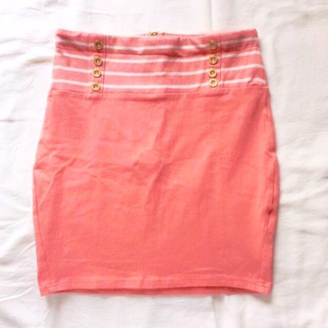 🚩RM 22🚩 [Topshop] Vintage Look High-waisted Nautical Bodycon Skirt In Salmon.