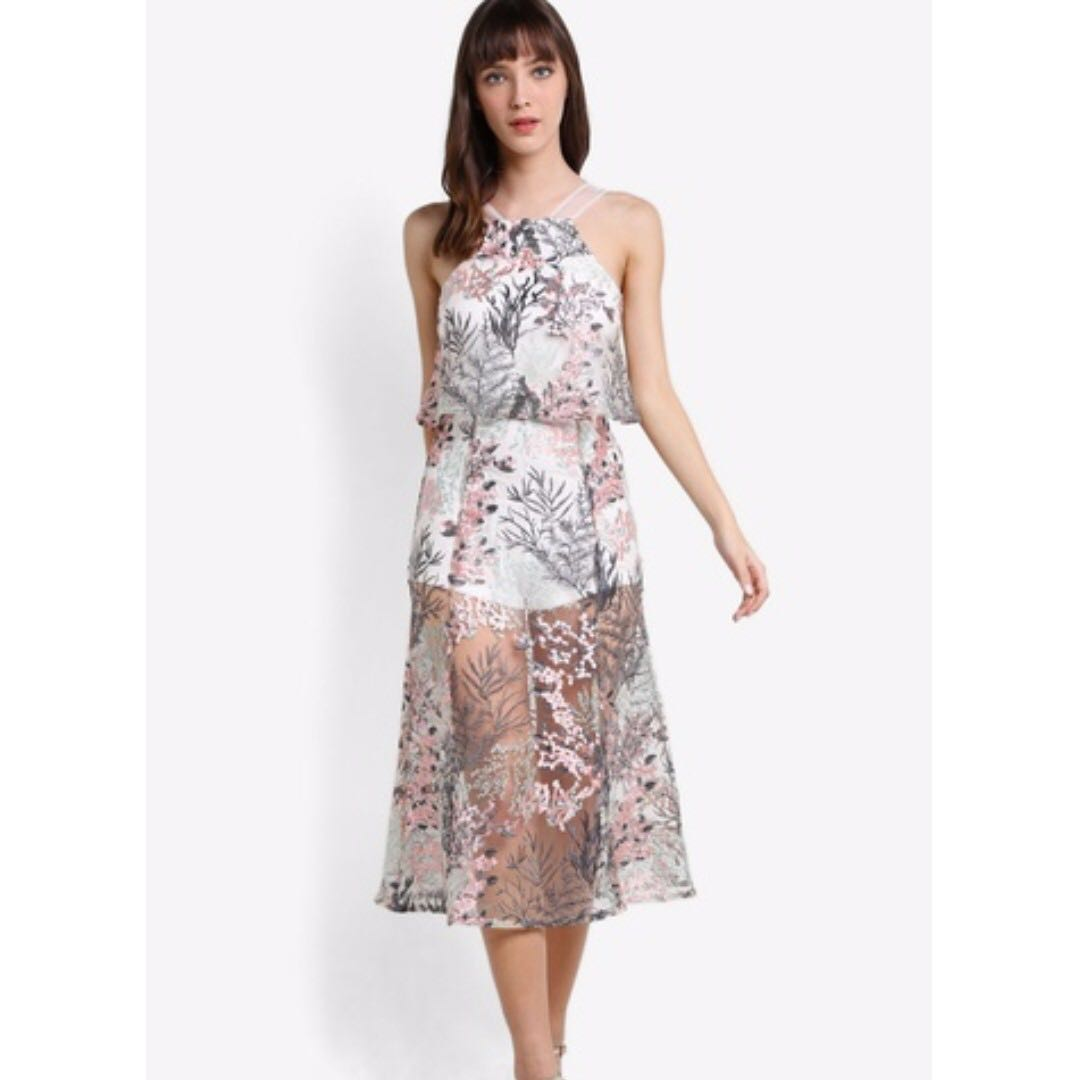 Self Portrait Inspired Dress, Size XS/AU6, White/Multifloral, NEW