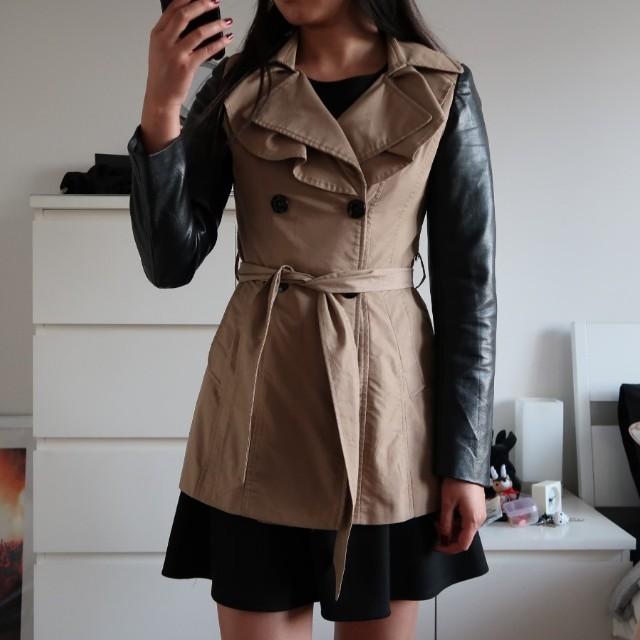 Size 8 Khaki PU Sleeve Coat