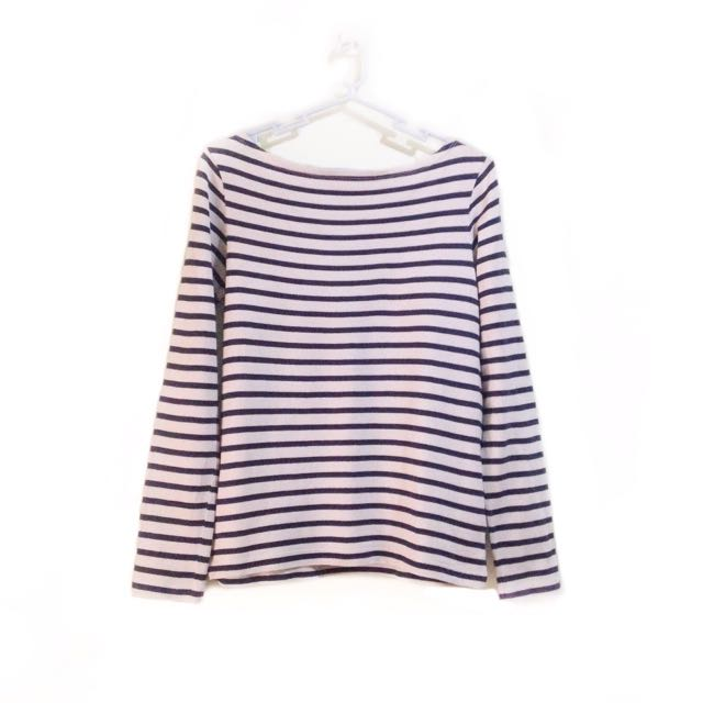 Striped Boat Neck Long Sleeves Top