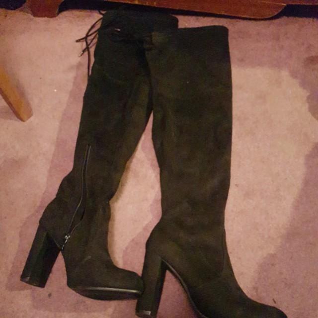Thigh high boot heels