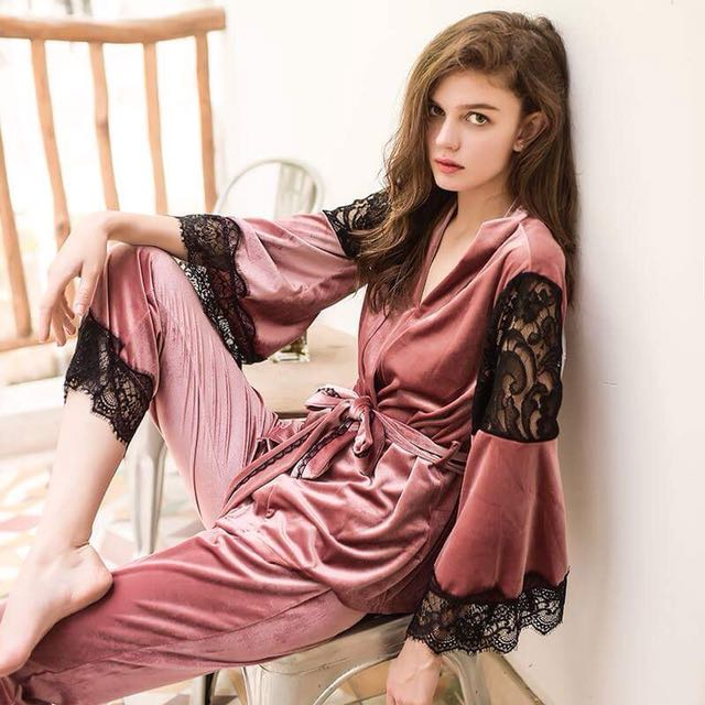 Three pieces sleepwear set with long pant   pajamas   lingerie ... a9169f1f189