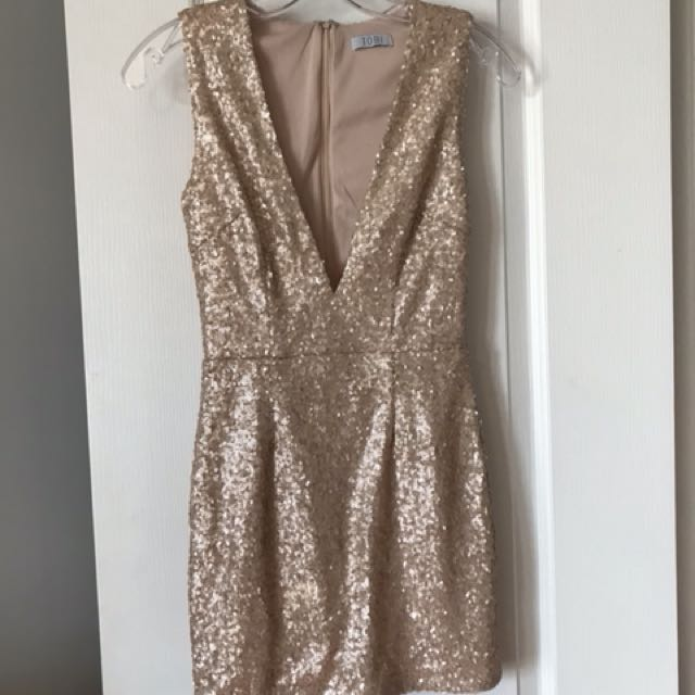 Tobi gold sequinned minidress