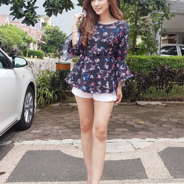 Tulips top black fit S-M