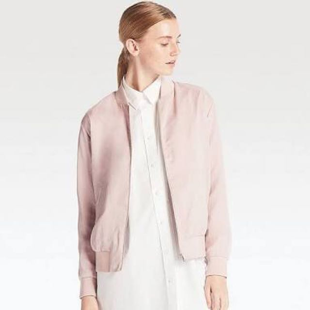 USED Uniqlo Pink Lightweight Bomber Jacket SMALL