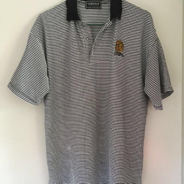 Versace Checkered Polo Top