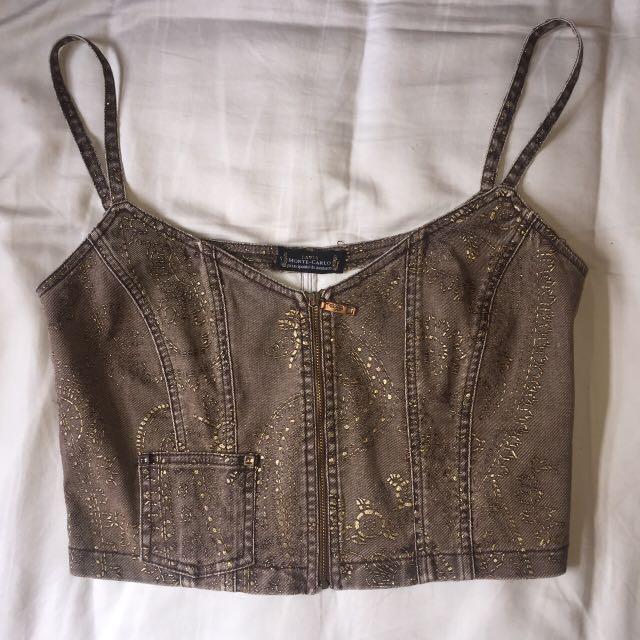 Vintage denim zip crop top