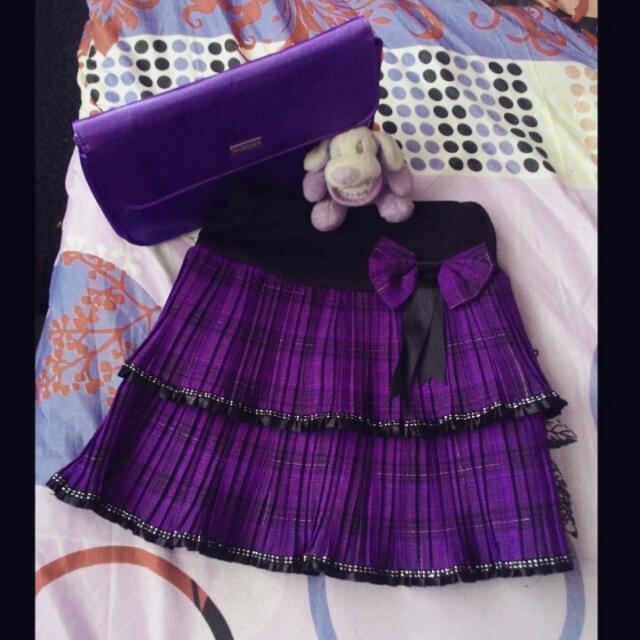 Violet checkered skirt