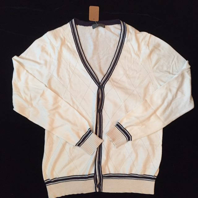 White cardigan with dark blue borders. (With tag)