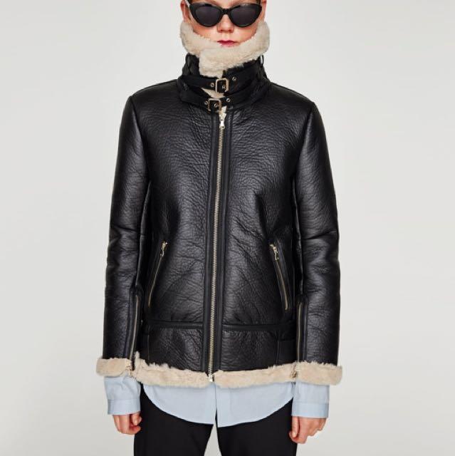 Zara Faux Leather Aviator Jacket