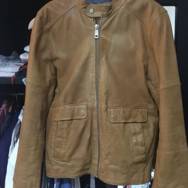 Zara lambskin leather jacket in light ochre